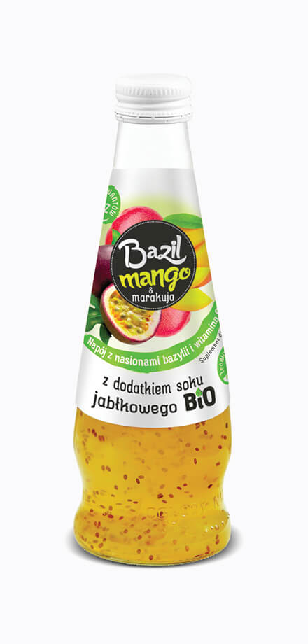 Basil seed, mango and passion fruit dietary supplement drink