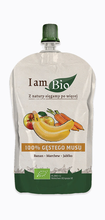 I am BIO Ecological mousse of banana carrot apple