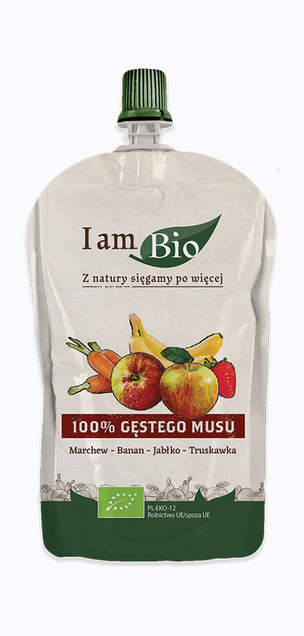 I am BIO Ecological mousse of carrot banana apple and strawberry