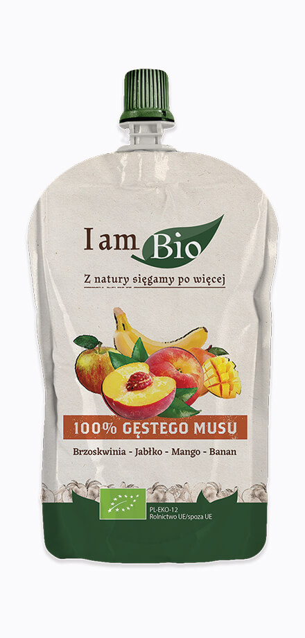 I am BIO Ecologicał mousse of peach apple banana and mango