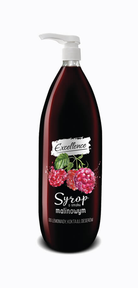 Food service raspberry syrup with apump. Low sugar